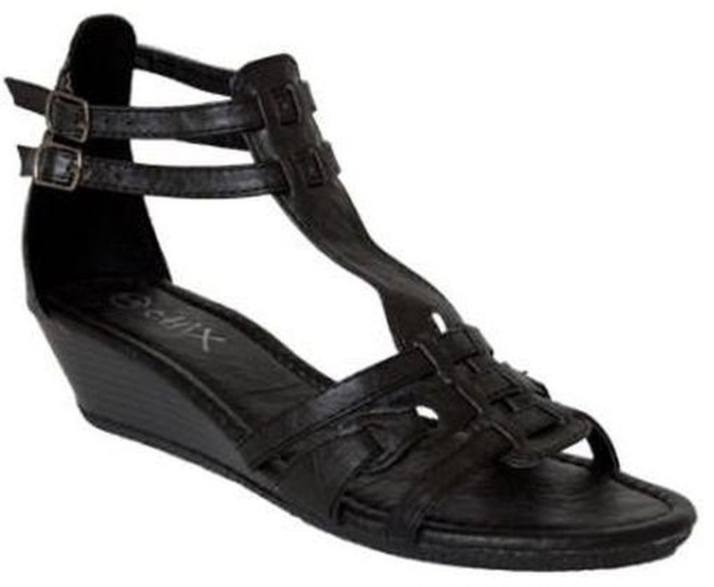 b15896ea147 Chix Black Low Wedge Heel Strappy Gladiator Summer Sun Sandals