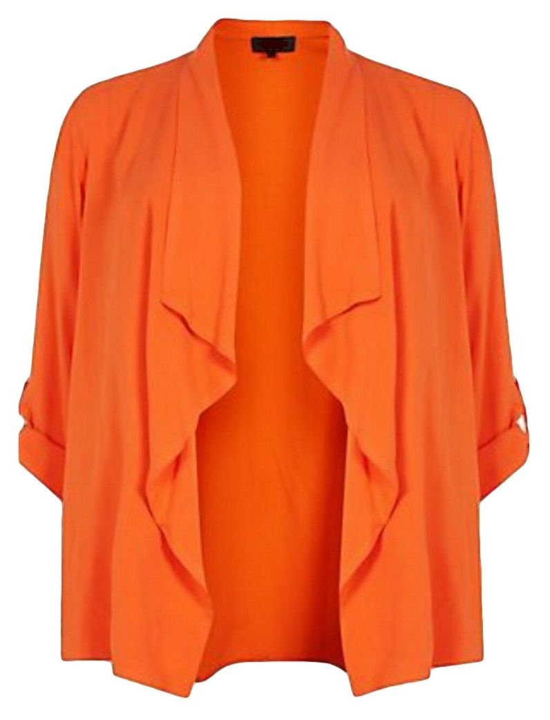 Ex New Look Orange Waterfall Cardigan Blazer Kimono Top